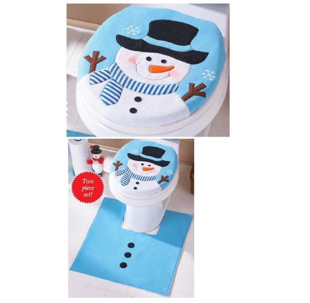Ularma 2PCS Set Fancy Snowman Toilet Seat Cover Rug Bathroom Christmas Decoration