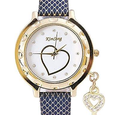 Relojes de Cuarzo para Mujer Rhinestone Love Heart Analog Fashion Liquidación Lady Relojes Mujer Relojes Relojes de Pulsera para Mujer (Azul): Amazon.es: ...