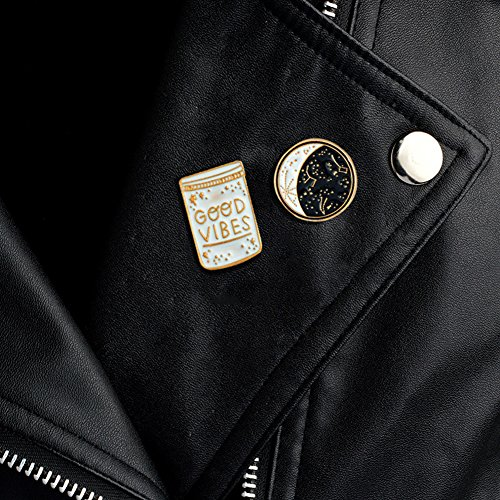ink2055 2Pcs Brooch Pin Badge Good Vibes Polaris Ursa Major Denim Jacket Coat Suit Badges - Black + White by ink2055 (Image #2)
