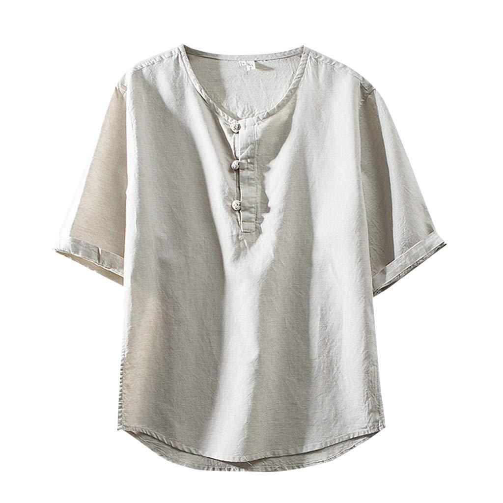 iZHH Fashion Men's Shirt Cotton Linen Simple Solid Color Short Sleeve Retro T Shirts Tops Blouse Khaki