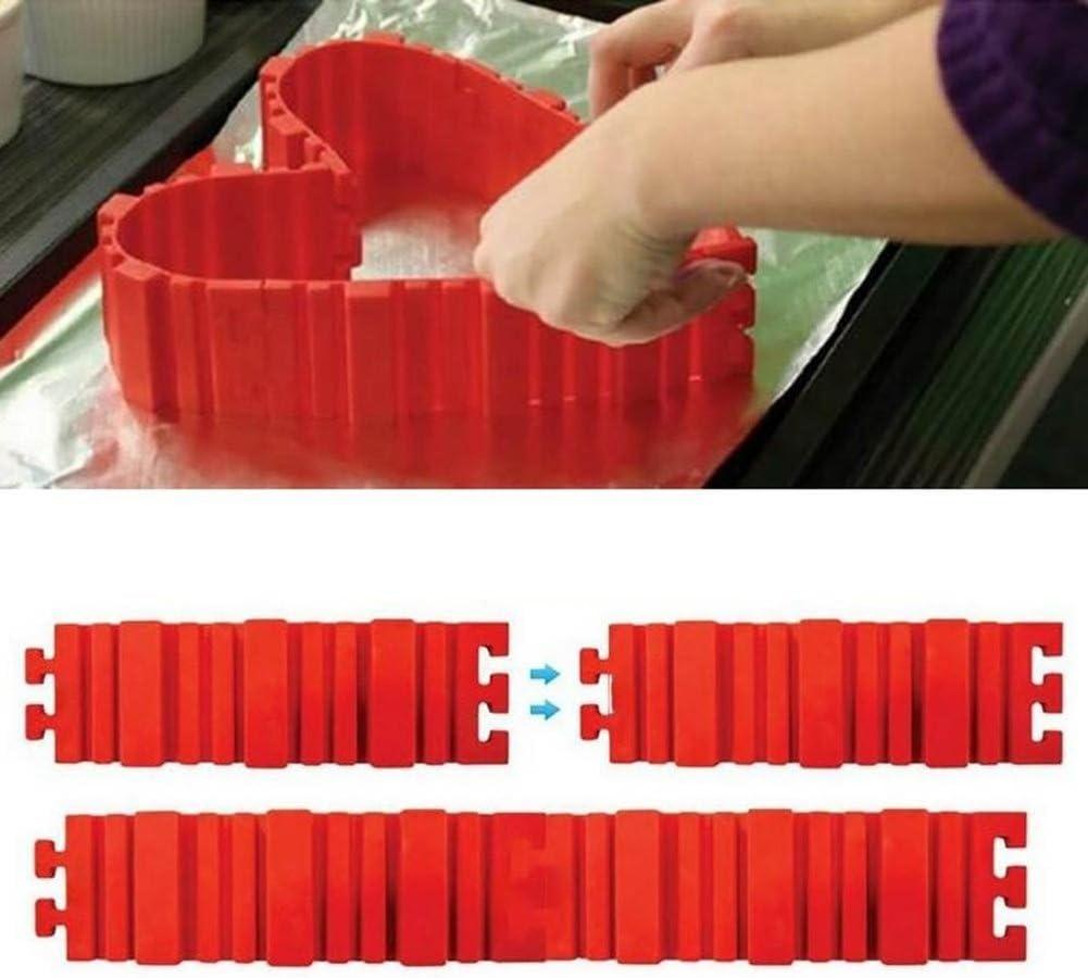 Newhashiqi Lot de 4 moules /à g/âteaux en silicone transformable pour f/ête danniversaire Red