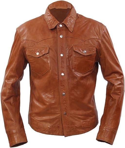 Infinity Chaqueta de mezclilla estilo retro slim fit casual de cuero marrón camisa jeans chaqueta