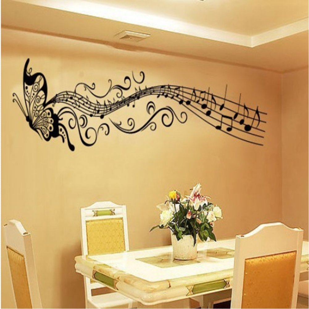 Carejoy Butterfly & Music Notes Wall Stickers Flower Wall Decals ...
