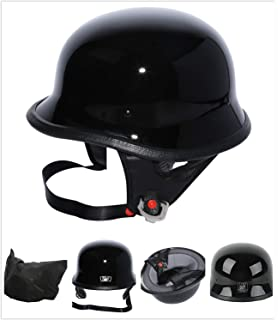 M Tengchang Matte Black DOT German Motorcycle Street Half Helmet Chopper Cruiser Biker