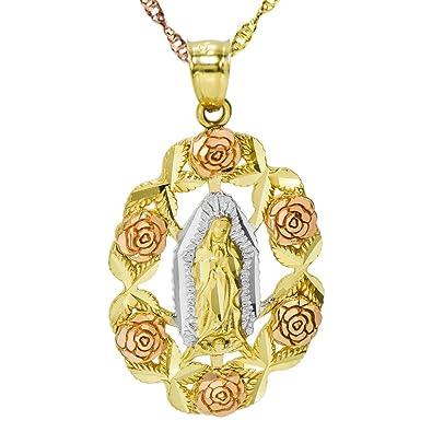 fd43c301e77e 14 K Tri Color Oro Virgen Guadalupe Rose Marco Collar con Colgante ...