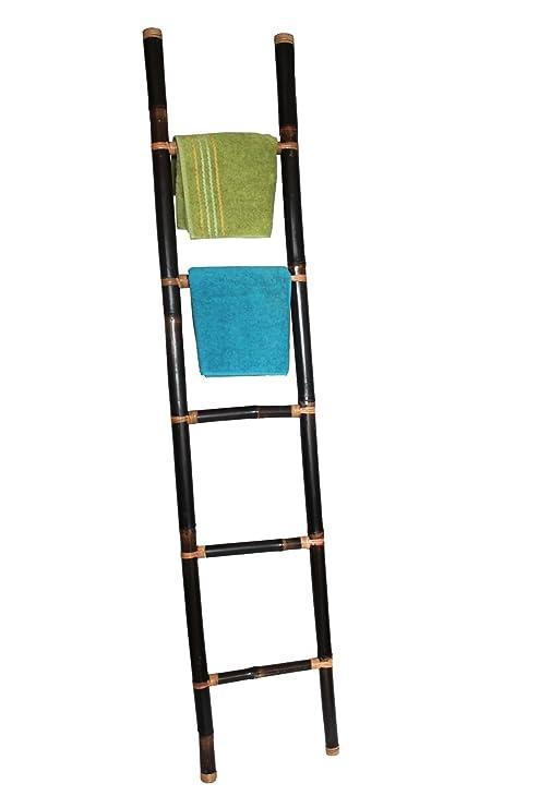Color CO decorativa toallero, bambú escalera marrón oscuro ...