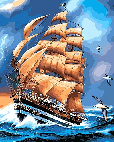 Fengtuo DIY Oil Painting Paint by Number Kit Canvas Painting Hand Colouring Decorative Picture- Sailing Journey 16
