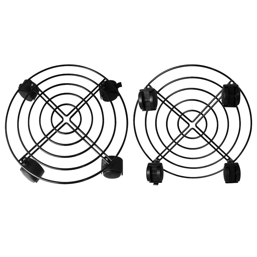 LYTIVAGEN 2Pcs Metal Plant Caddy Iron Plant Stand with Wheels Flower Garden Pot Round Plants Trolley Casters Capacity 50KG for Indoor Outdoor Home and Garden (Black)