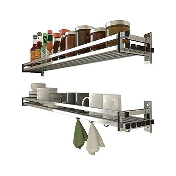 Rack de especias de acero inoxidable 304, colgador de pared, toallero, sin clavos, estante de almacenamiento, vajilla, en maceta, adecuado para: ...