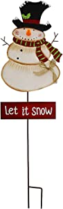 "Kilipes Snowman Garden Stake with LED Light Nose Rustic Metal Snowman Yard Stake Christmas Outdoor Holiday Yard Decoration (37"" b)"