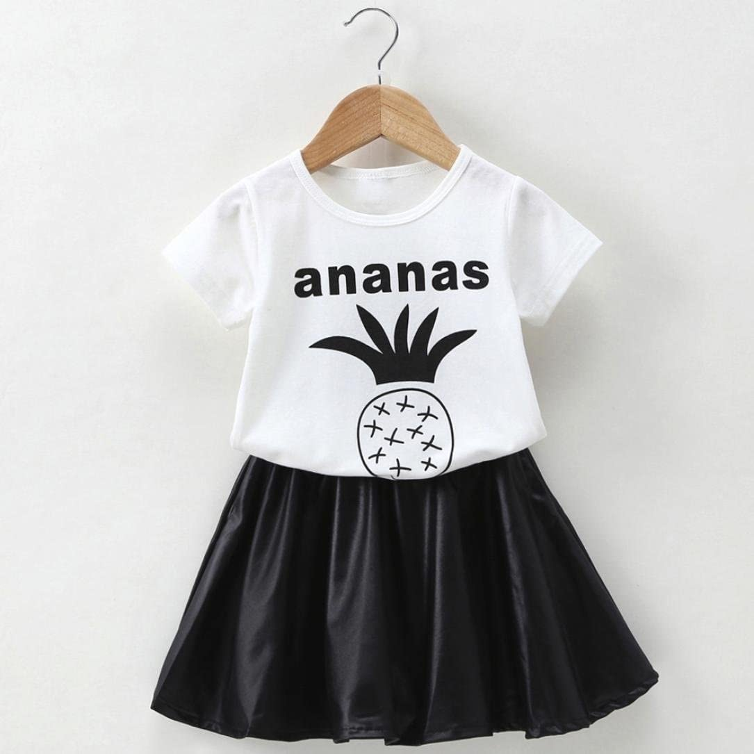 Little Girls Skirts Set,Jchen New Style Summer Baby Kids Girls Pineapple Tops T-Shirts Skirts Outfit for 1-5 T TM