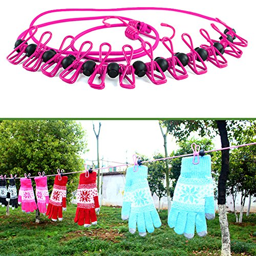 Portable Clothesline for Outdoor and Indoor Use with 12pcs Clip (Covers Uk Patio Retractable)