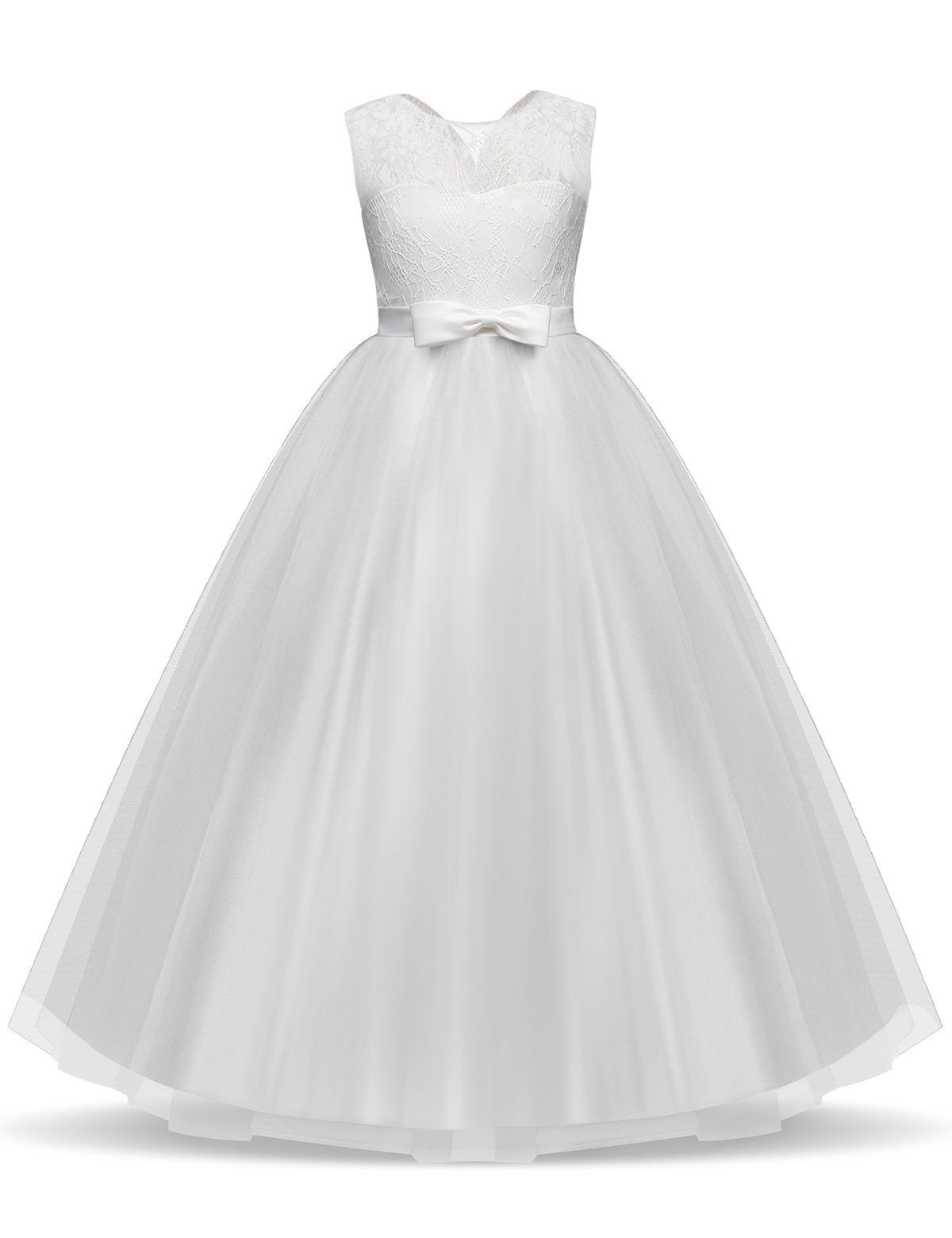 TTYAOVO Girls Pageant Ball Gowns Kids Chiffon Embroidered Wedding Party Dress Size 7-8 Years White