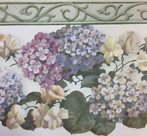 Laser Cut Hydrangea with Crown Wallpaper Border Waverly no. 576501