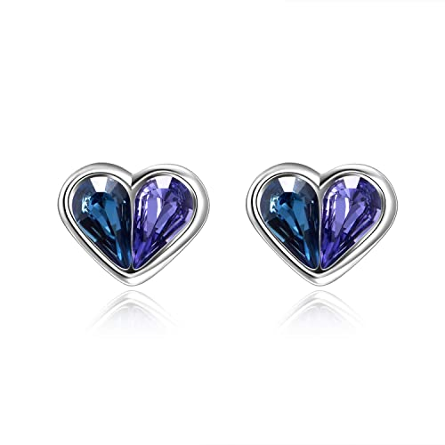 0458b8dc87834 AOBOCO 925 Sterling Silver Heart Stud Earrings with Blue Purple Teardrop  Crystals from Swarovski,Hypoallergenic Small Earrings Fine Jewelry Gift for  ...