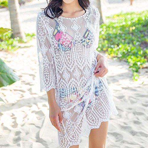 &zhou Blusa floja femenina del bikiní, ropa de la playa knit el mantón largo de la manga, ropa del sol , one size , white White