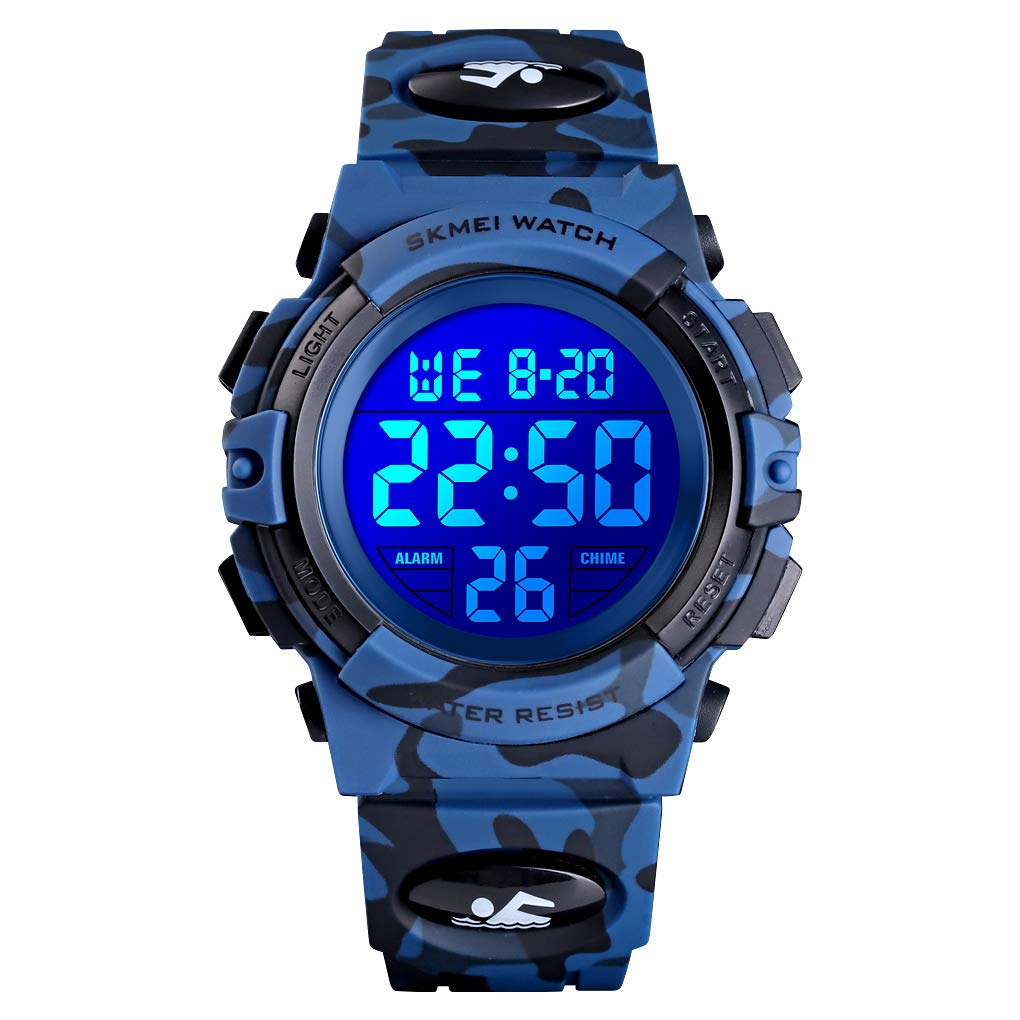 Boys Watch Digital Sports 50M Waterproof Watches Boys Girls Children Analog Quartz Wristwatch with Alarm - Camo Blue by Dayllon