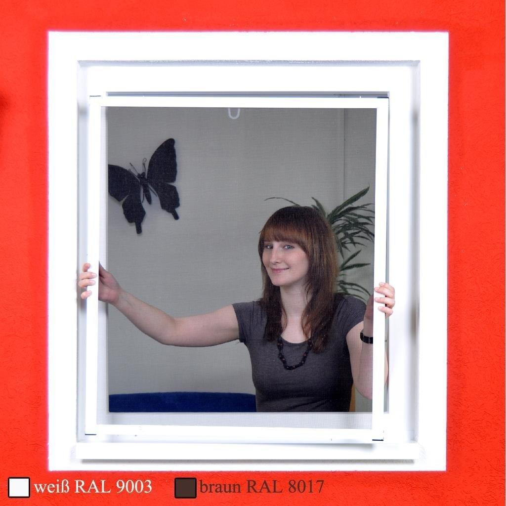 Premium Slim Fliegengitter fü r Fenster als Alubausatz mit Fiberglasgewebe - Profi Insektenschutz - 130 cm x 150 cm   anthrazitfarbener Rahmen matrasa
