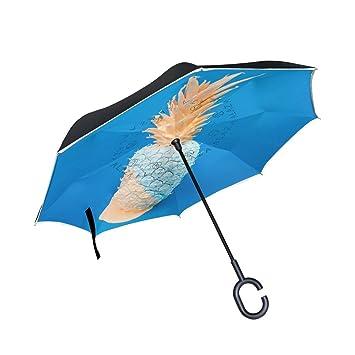 Paraguas invertido de doble capa de piña de color azul dorado para coches, paraguas invertido