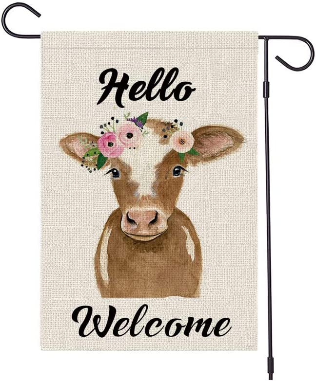 HABILY Hello Cow Garden Flag Vertical Double Sided Burlap Cattle Farm Yard Flags, Welcome House Flag 12.5 x 18 Inch for Summer Spring Yard Outdoor Decor