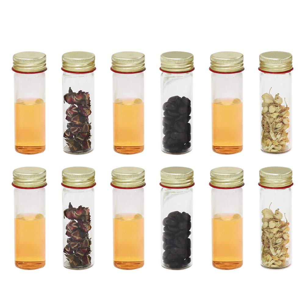 ULAB Scientific Sample Tubes 25ml with Screw Caps, Small Spice Containers 1oz, Makarthy, 3.3 Borosilicate Glass Tubes, Caps in Aluminum Material, Pack of 12, UTT1005