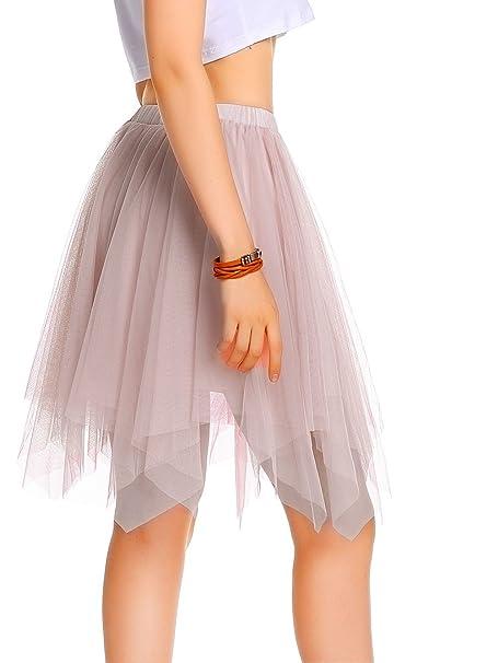 AMORETU Mujeres Enagua Falda Corta Midi Tul Damas Cintura Elástica Asimetricas Tutu Falda para Fiesta Danza