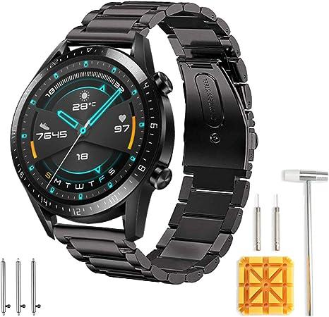 Imagen deSPGUARD Correa Compatible con Correa Huawei Watch GT 2e Huawei Watch GT2 46mm Correa,22mm Pulsera de Repuesto deMetal de Acero Inoxidable para Huawei Watch GT 46mm/Huawei GT2 46mm/Huawei GT 2e(Negro)