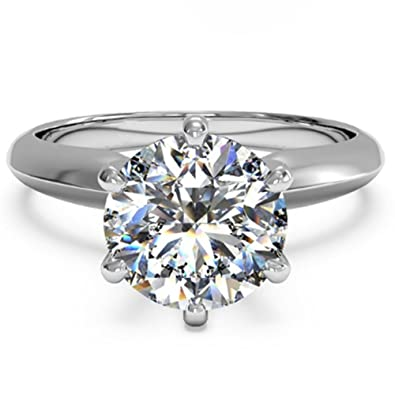 ea7dc8b860dc09 espere 3 Ct CZ Solitaire Engagement Ring Sterling Silver White Gold Plated  Size 4 Anniversary Rings