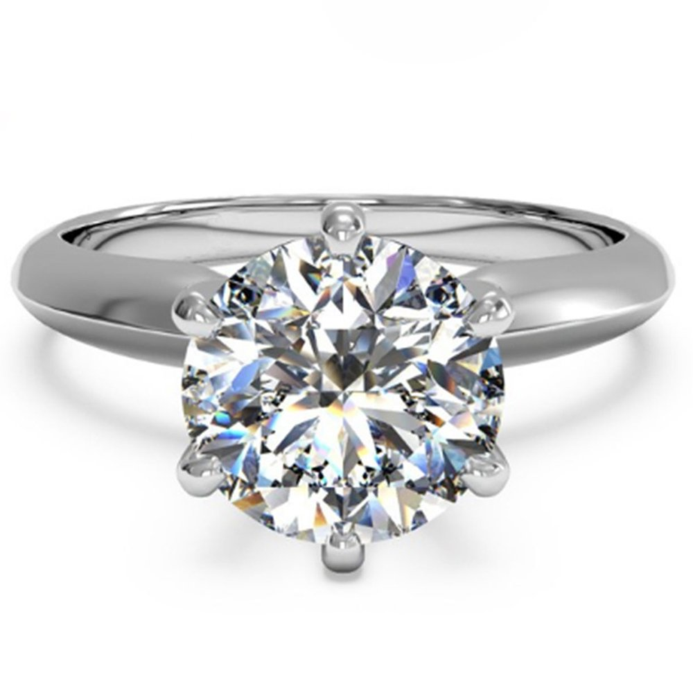 espere 3 Ct CZ Solitaire Engagement Ring Sterling Silver White Gold Plated Size 7