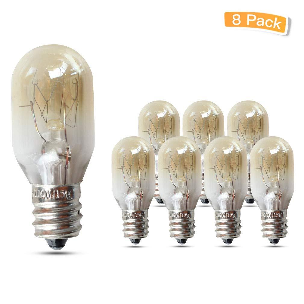 LXcom Microwave Bulb Oven Light Bulbs 15W E12 Base 110V Microwave Oven Light Bulbs Warm White Kitchen Aid Oven Light Bulb, 8 Pack