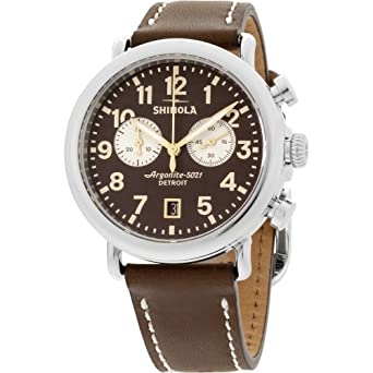 79d741dcc Image Unavailable. Image not available for. Color: Shinola The Runwell  Brown Dial Brown Leather Strap Men's Watch 20044132