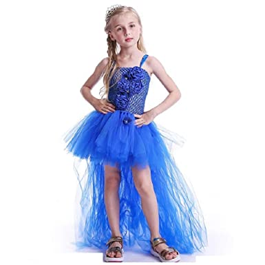 d7cf5d0e97b6c THE LONDON STORE Royal Blue Flowers Girls Tutu Dress High Low ...