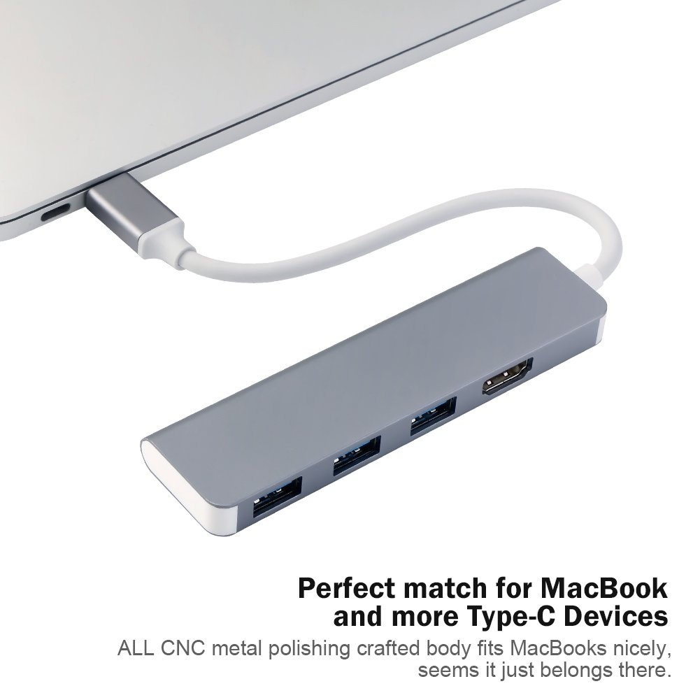 USB-C Hub, Type-C Adapter with PD+2USB3.0+SD+TF Card Reader, Portable Aluminum USB C Adapter for 2017 MacBook Pro 2017 iMac, Multi-Port Charging & Connecting Adapter (USB-C to HDMI+Space Grey3USB3.0+)