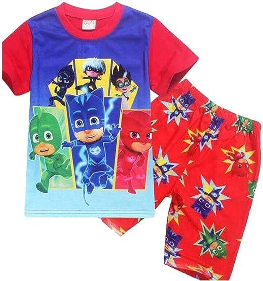 Pj Mask - Pijama de manga corta para niños y niñas, diseño de dibujos animados