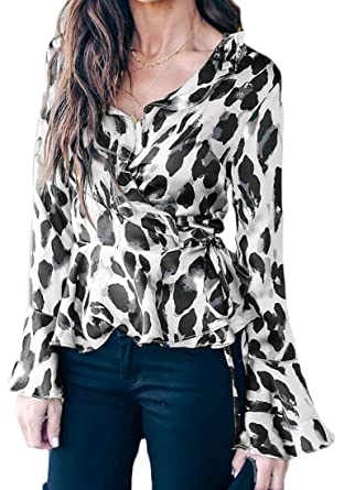 b91629e07b Women s Bell Sleeve Casual Leopard Print Wrap V-Neck Tie Knot Blouse Tops  White S
