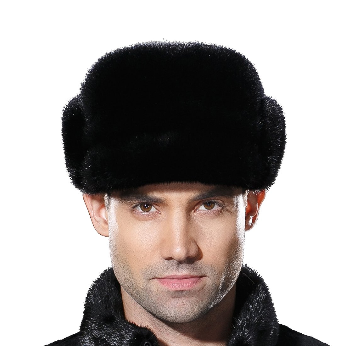URSFUR Mne's Winter Fur Cap Genuine Mink Fur Fudd Hat Black M