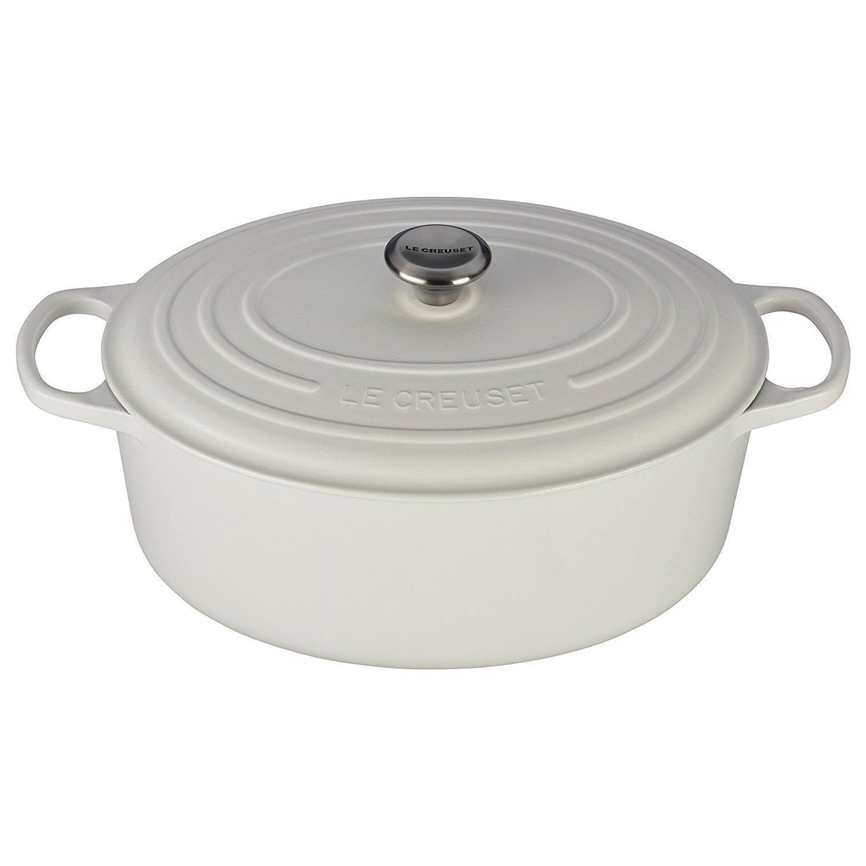 Le Creuset LS2502-3516SS Enameled Cast Iron 9.5 quart Signature Oval Dutch Oven, White