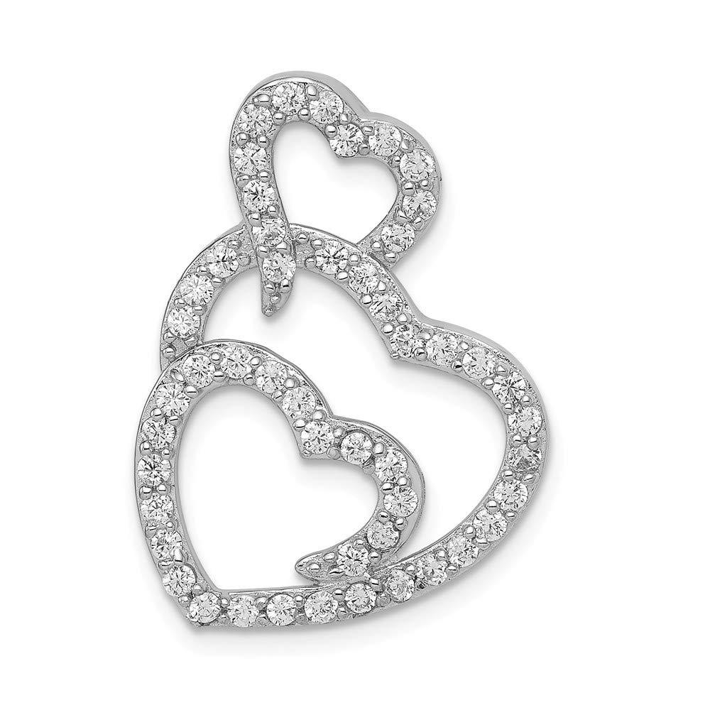 925 Sterling Silver Multi Hearts Clear CZ Slide Pendant