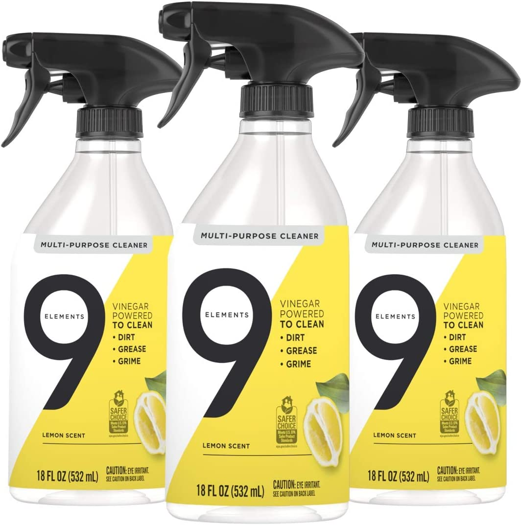 9 Elements Multi-Purpose Surface Cleaning Spray, Lemon Scent, 18 oz, Pack of 3