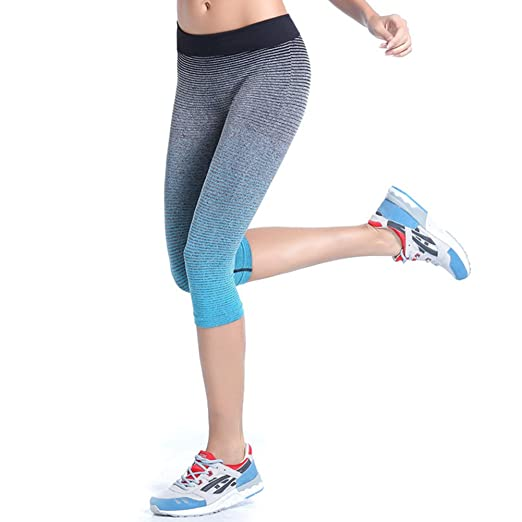 f5bf73cf2b28 Amazon.com: EFINNY Women Sports Cropped Leggings Fitness Gym Running  Stretch Capris Trouser: Clothing