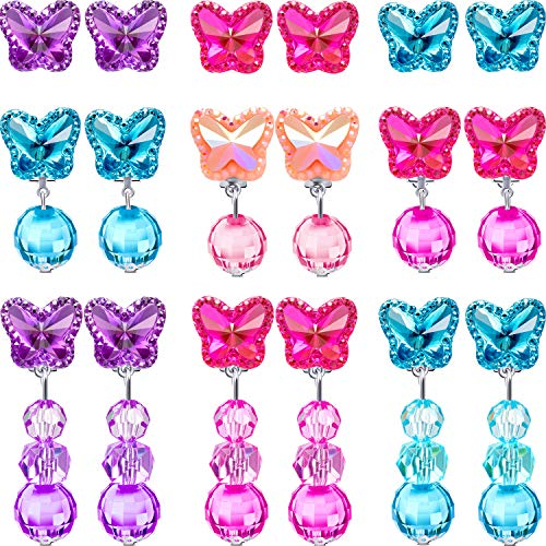 (Hicarer 9 Pairs Girls Clip-on Earrings Pretend Princess Play Earrings Jewelry Set (Style 3) )