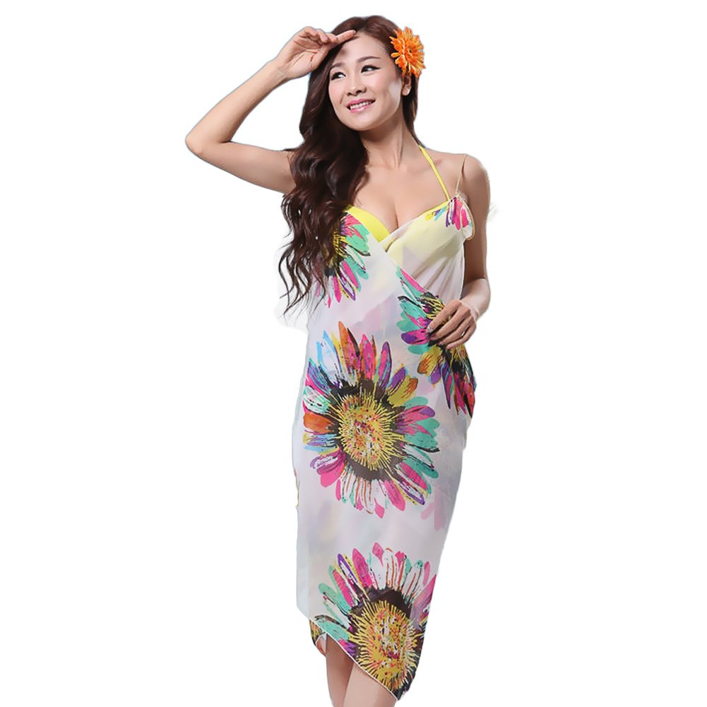hrph Floral de la impresi¨®n todo-emparejado ba?o bikini del abrigo de la gasa cubre para arriba el vestido de la playa de los sarong