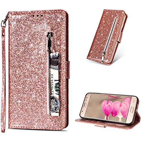 LCHDA Glitter Wallet Case for Samsung Galaxy S7 Edge Luxury Synthetic PU Leather Case Sparkly Rose Gold Zipper Pocket Flip Open Card Holder Kickstand Phone Cover for Women with Detachable Hand Strap ()