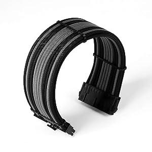Antec Power Supply Cable Extension Kit, ATX EPS 8-pin PCI-E 6-pin PCI-E, w/Combs, Black Gray (Color: Black/Gray, Tamaño: 300mm)