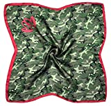 Red Green Camouflage Print Small Fine Silk Square Scarf