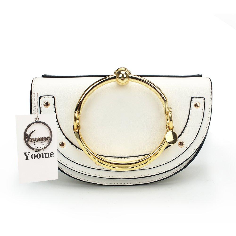Yoome Elegant Rivets Punk Style Circular Ring Handle Handbags Cute Lune Satchel Round Bracelet Wristlet Crossbody Bags For Girls - White.lune - Upgraded Version