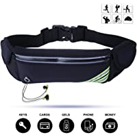 "Veriya Running Belt, Waterproof Fitness Belt Lightweight Waistpack Bumbag Fanny Pack Bum Bags w Water Bottle Holder for Running Hiking Cycling Dog Walking 5.5"" Smartphoe"