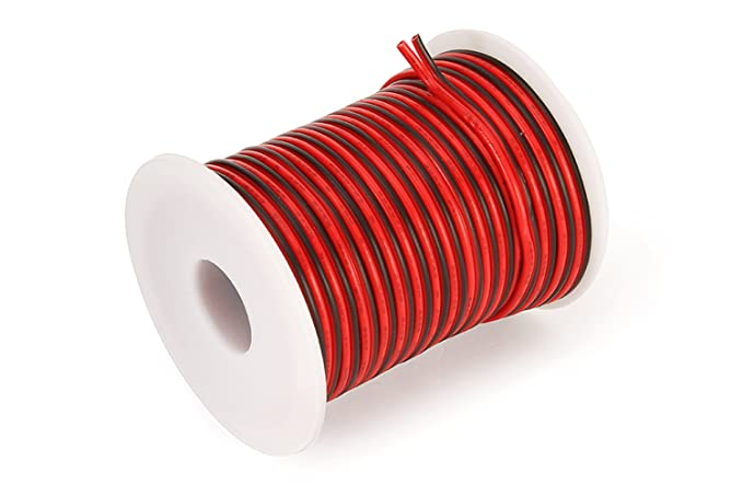 C-able 15.5M 50FT 18 AWG Gauge Electrical Wire Hookup Red Black ...