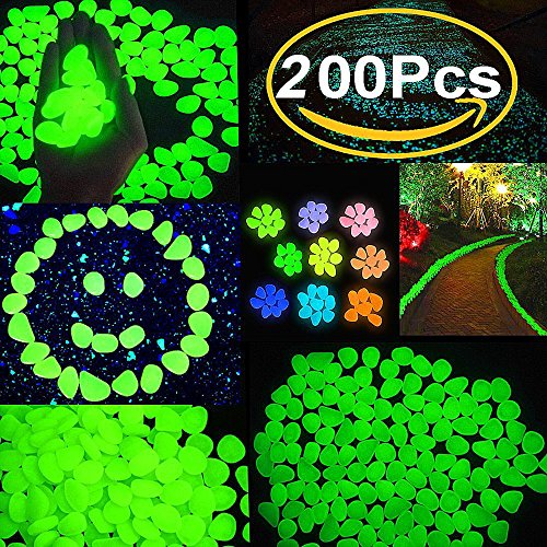 Glow Pebbles Glow in the Dark Garden Pebbles StoneDecorative Garden Pebble for Outdoor Walkways Yard Aquarium Gravel Fish Tank and Garden Driveway Powered By Light And Solar Green