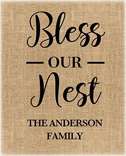 ♥ Bless our Nest | Personalized Burlap Print | Housewarming Gift | New Home Closing Gift Burlap Gift ♥ (Wedding Announcement Invitation Wording)